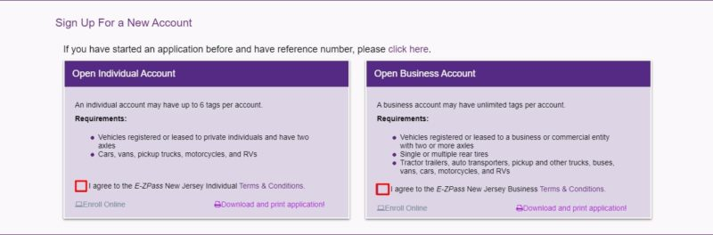 EZ Pass Individual or Business Account