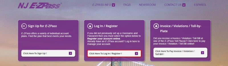 Log In to NJ E-ZPass