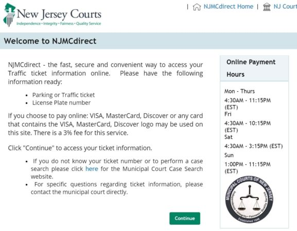NJMCDirect traffic ticket payment online