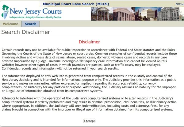 New Jersey municipal court disclaimer rules
