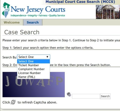 find New Jersey traffic ticket number