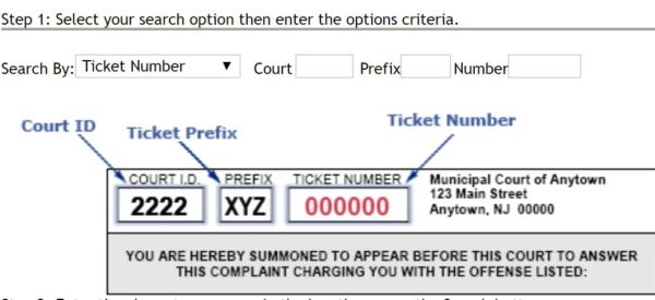 find NJ traffic ticket court id and prefix number