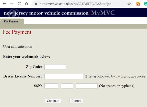 njmvc license restoration fee payment
