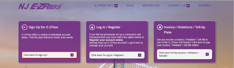 sign up for NJ e-zpass